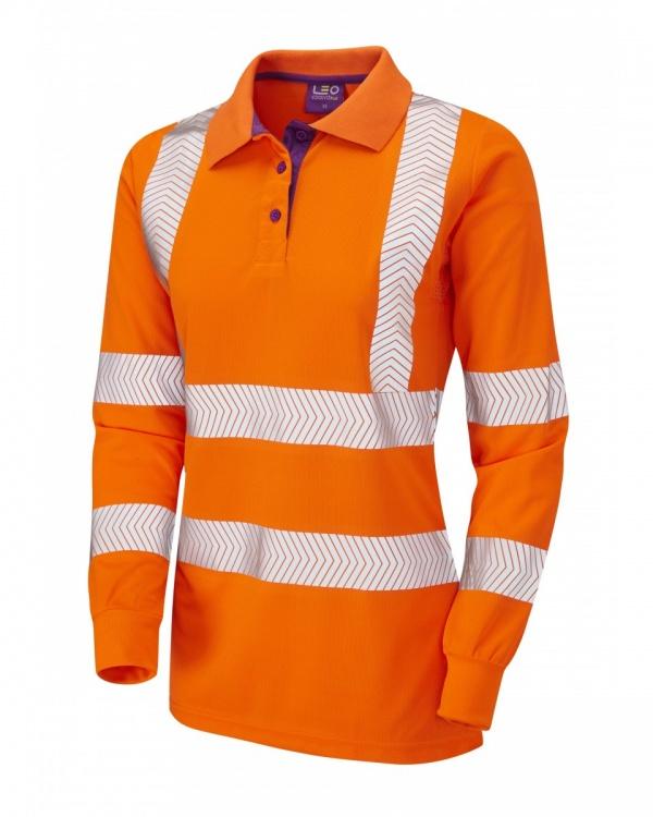 1b87ffd9 High Visibility Orange Coolviz Plus Pollyfield Ladies Long Sleeved Polo  Shirt - redoakdirect.com