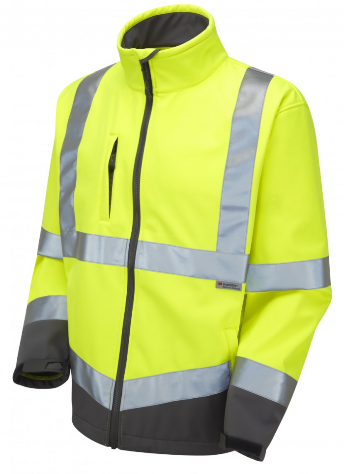 High Visibility Yellow Two-Tone Interactive Softshell Jacket