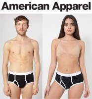 American Apparel AA025 Unisex Briefs - Black & White