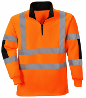 High Visibility Xenon Orange Quarter Zip Sweatshirt