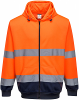 High Visibility Orange / Navy Full Zipped Hooded Sweatshirt
