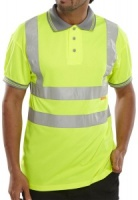 High Visibility Yellow Polo Shirt with Grey Collar Short Sleeve