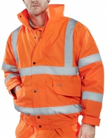 High Visibility Contractor Orange Waterproof Bomber Jacket EN471