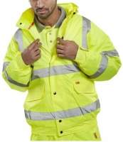 High Visibility Contractor Yellow Waterproof Bomber Jacket EN471