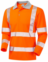 Long Sleeve Superior Coolviz Barricane P08 High Visibility Orange Advanced Polo Shirt