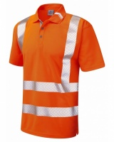 Leo Workwear P09-O Broadsands Coolviz Ultra High Visibility Orange Polo Shirt