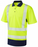 Superior Coolviz Plus High Visibility Yellow/Navy Mortehoe Polo Shirt