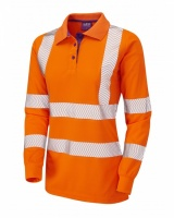 High Visibility Orange Coolviz Plus Pollyfield Ladies Long Sleeved Polo Shirt