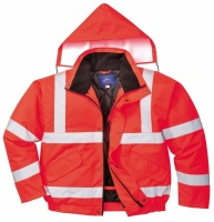 High Visibility Contractor Red Waterproof Bomber Jacket EN471