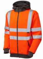 High Visibility Premium Orange-Grey Full Zip Hooded Sweatshirt