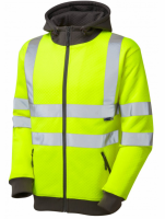 High Visibility Premium Yellow-Grey Full Zip Hooded Sweatshirt