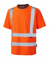Leo Workwear T02-O Braunton High Visibility Orange Coolviz T-Shirt