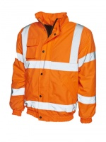 High Visibility Essentials Orange Waterproof Bomber Jacket EN471