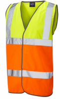 High Visibility Yellow & Orange Lightweight Waistcoat / Vest ENISO 20471 Class 2