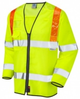 Barbrook Hi Vis Yellow Sleeved Waistcoat with Orange Braces