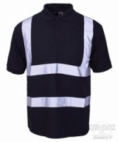 Printed High Visibility Black Polo Shirt