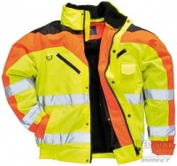 High Visibility Yellow Three Tone Contrast Waterproof Bomber Jacket