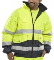 High Visibility Europa Yellow & Navy Waterproof Bomber Jacket EN471