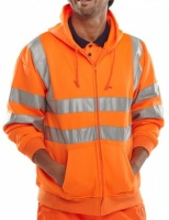 High Visibility Orange Hooded Full Zipped Sweatshirt