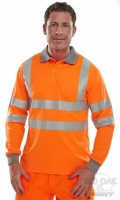 High Visibility Orange Long Sleeve Polo Shirt with Grey Collar