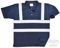 Printed High Visibility Navy Blue Polo Shirt