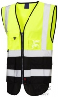 High Visibility Yellow & Black Superior Two-Tone Vest (ENISO 20471 Class 1)